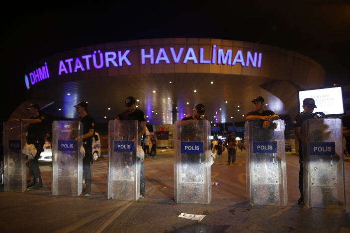 <p>Turkish police block the entrance to Istanbul's Ataturk airport, early Wednesday, June 29, 2016. (AP Photo/Emrah Gurel) </p>