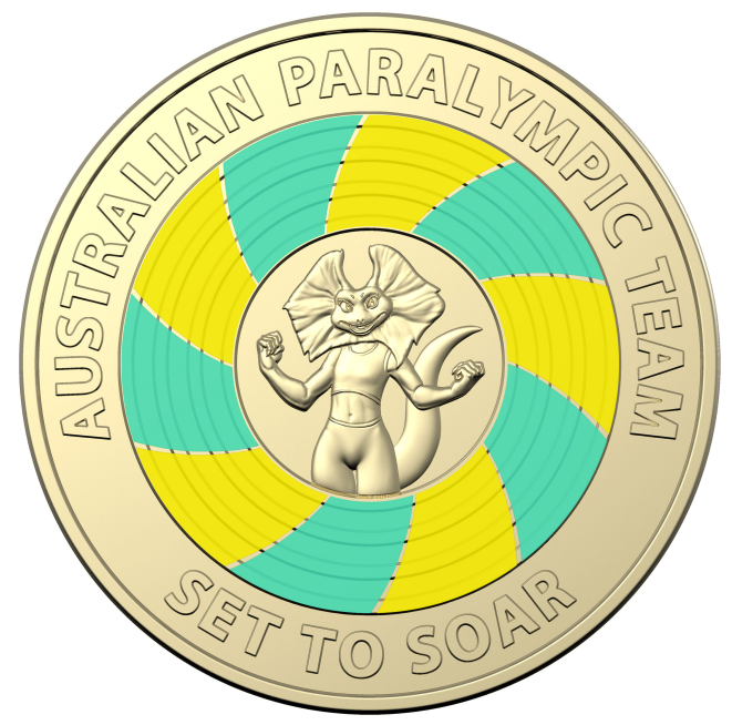 Woolworths Paralympic collectable green and gold coin. Source: Woolworths.