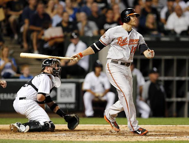 Baltimore Orioles' Chris Davis watches his two-run double off Chicago White Sox starting pitcher Jose Quintana, scoring Delmon Young and J.J. Hardy, during the sixth inning of a baseball game Tuesday, Aug. 19, 2014, in Chicago. Also watching the play is catcher Tyler Flowers. (AP Photo/Charles Rex Arbogast)