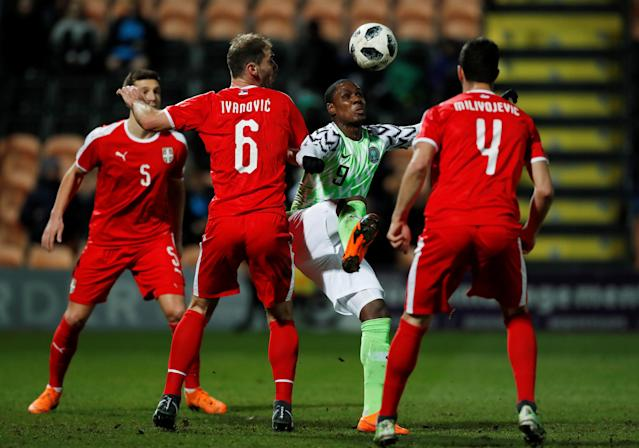 Soccer Football - International Friendly - Nigeria vs Serbia - The Hive Stadium, London, Britain - March 27, 2018 Serbia's Branislav Ivanovic in action with Nigeria's Odion Ighalo Action Images via Reuters/Peter Cziborra