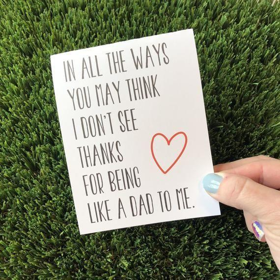 """<p><strong>PersonalPaperHugs</strong></p><p>etsy.com</p><p><strong>$5.49</strong></p><p><a href=""""https://go.redirectingat.com?id=74968X1596630&url=https%3A%2F%2Fwww.etsy.com%2Flisting%2F521203486%2Fsentimental-fathers-day-card-for-stepdad&sref=https%3A%2F%2Fwww.countryliving.com%2Flife%2Fg20688368%2Fstep-dad-fathers-day-gifts%2F"""" rel=""""nofollow noopener"""" target=""""_blank"""" data-ylk=""""slk:Shop Now"""" class=""""link rapid-noclick-resp"""">Shop Now</a></p><p>This sweet, handmade card with a simple message will have him tearing up. </p>"""