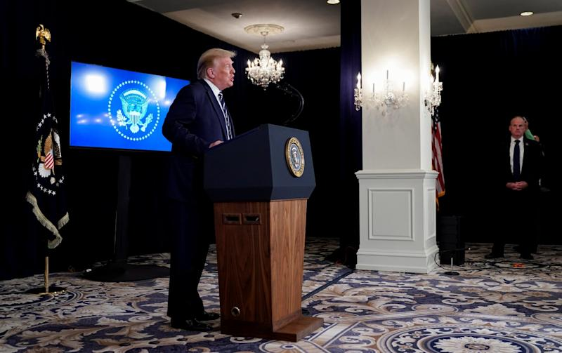 Donald Trump addresses a news conference at his golf resort in Bedminster, New Jersey, on 7 August, 2020: REUTERS