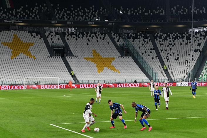 Juventus and Inter Milan played in an empty stadium in Turin, Italy, on Sunday.