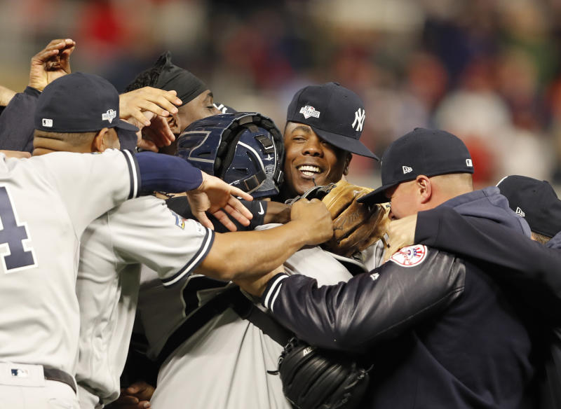 MINNEAPOLIS, MN - OCTOBER 7: The New York Yankees celebrated their win against the Minnesota Twins after game 3 of their American League Division Series at Target Field on Monday, October 7, 2019. (Photo by Leila Navidi/Star Tribune via Getty Images)