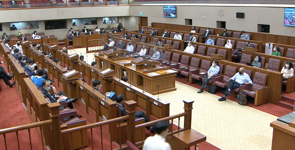 Foreign Interference (Countermeasures) Bill debate in Singapore's Parliament on 4 October 2021. (SCREENSHOT: Ministry of Communications and Information/YouTube)