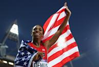"""Silver medalist <a href=""""http://sports.yahoo.com/olympics/track-field/lashinda-demus-1130513/"""" data-ylk=""""slk:Lashinda Demus"""" class=""""link rapid-noclick-resp"""">Lashinda Demus</a> of the United States celebrates afte the Women's 400m Hurdles Final on Day 12 of the London 2012 Olympic Games at Olympic Stadium on August 8, 2012 in London, England. (Photo by Clive Brunskill/Getty Images)"""