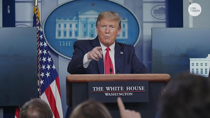 President Donald Trump turned a coronavirus White House briefing into a defense of his response actions to the deadly pandemic and confronted media.