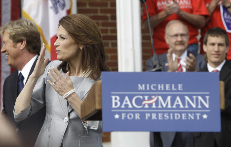 Rep. Michele Bachmann, R-Minn., blows a kiss to supporters before making her formal announcement to seek the 2012 Republican presidential nomination, Monday, June 27, 2011, in Waterloo, Iowa.  Bachmann, who was born in Waterloo, will continue her announcement tour this week with stops in New Hampshire and South Carolina. (AP Photo/Charlie Neibergall)