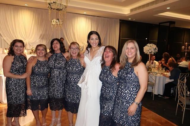 They look more like bridesmaids than regular guests! [Photo: Facebook]