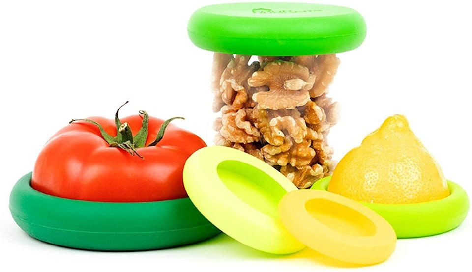 "Make your half-used produce last longer with <a href=""https://amzn.to/3kAywPI"" target=""_blank"" rel=""noopener noreferrer"">these silicone food huggers</a>. This set of five comes in various sizes, and some are big enough to fit jars, cans and bottles. <a href=""https://amzn.to/3kAywPI"" target=""_blank"" rel=""noopener noreferrer"">Get them for $13 on Amazon</a>."