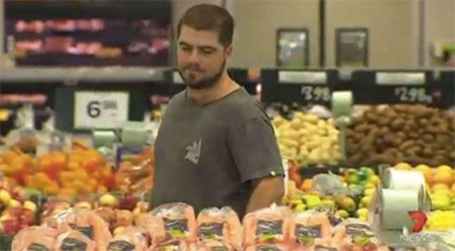Brok Neilsen, back in the fresh food section, where he first set eyes on the ' girl of his dreams'. Photo: 7 News