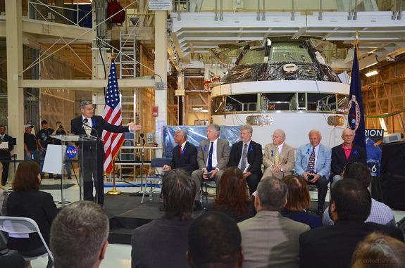 Robert Cabana, the director of NASA's Kennedy Space Center in Florida, presides over the July 21, 2014 ceremony to rename the center's historic Operations and Checkout Building for astronaut Neil Armstrong. Seated from left to right: Charles Bo