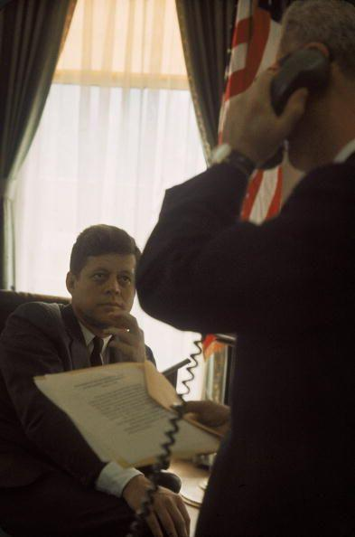 <p>President Kennedy meeting with Adlai Stevenson.</p>