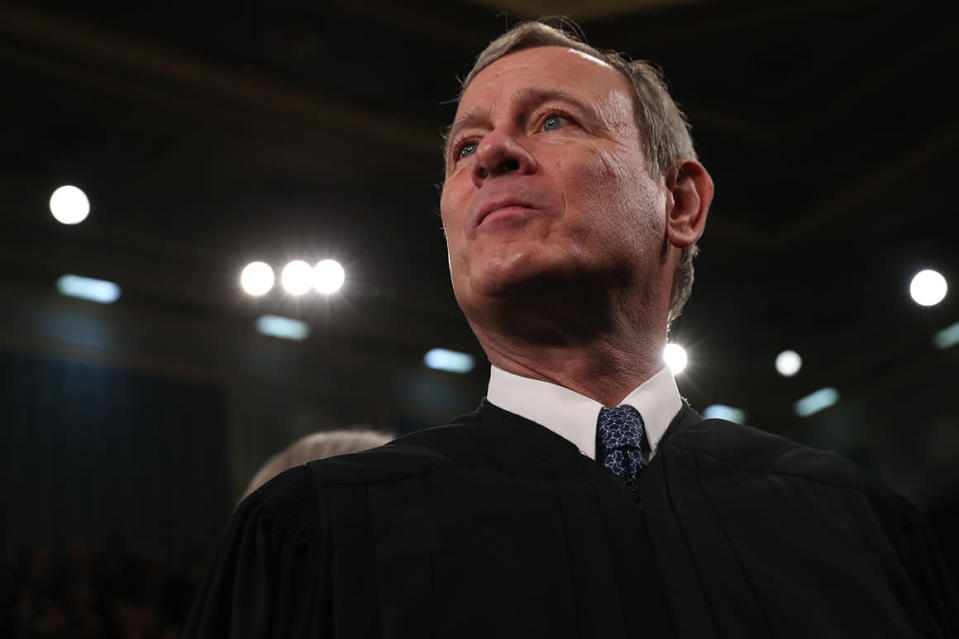 Supreme Court Chief Justice John Roberts, arrives before President Donald Trump delivers his State of the Union address to a joint session of Congress on Capitol Hill in Washington, Tuesday, Feb. 4, 2020. (Leah Millis/Pool via AP)
