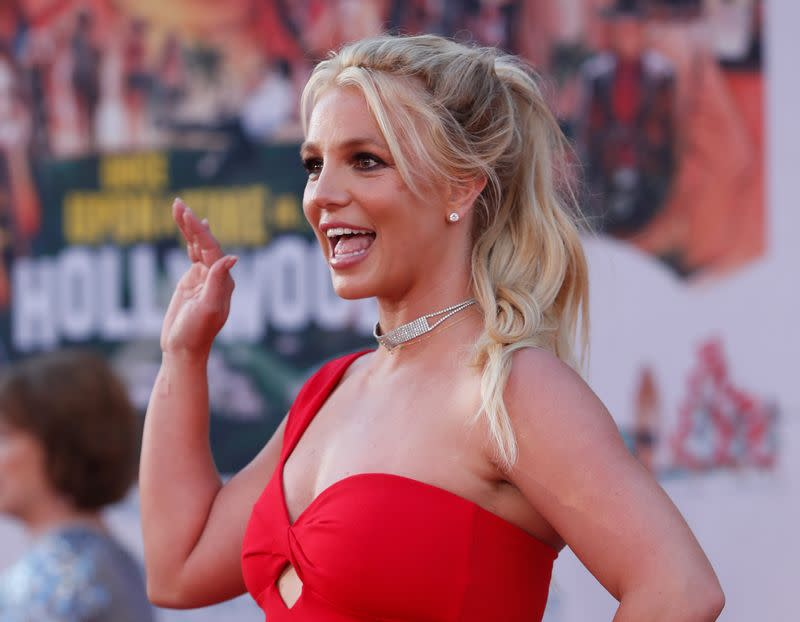 "FILE PHOTO: Britney Spears poses at the premiere of ""Once Upon a Time In Hollywood"" in Los Angeles"