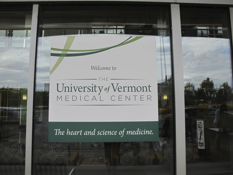 CORRECTS DAY TO WEDNESDAY-The main entrance to the University of Vermont Medical Center shown on Wednesday, Aug. 28, 2019. A federal agency says Vermont's largest hospital required a nurse to participate in an abortion over her moral objections. (AP Photo/Lisa Rathke)