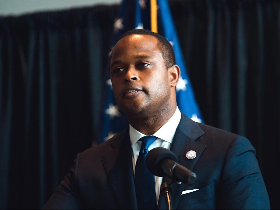 Kentucky Attorney General Daniel Cameron speaks during a press conference to announce a grand jury's decision to indict one of three Louisville Metro Police Department officers involved in the shooting death of Breonna Taylor (Getty Images)