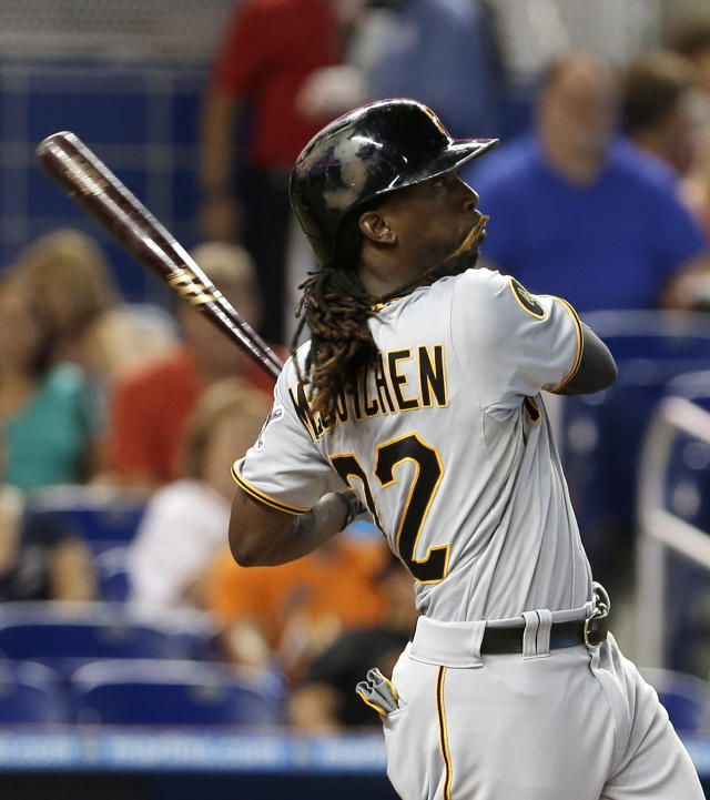 Pittsburgh Pirates' Andrew McCutchen follows through on his three-run home run against the Miami Marlins in the fourth inning of a baseball game in Miami, Saturday, June 14, 2014. Chris Stewart and Gregory Polanco scored. (AP Photo/Alan Diaz)