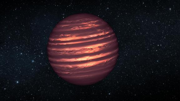 This artist's illustration shows the atmosphere of a brown dwarf called 2MASSJ22282889-431026, which was observed simultaneously by NASA's Spitzer and Hubble space telescopes. The telescopes' observations indicate this brown dwarf is marked by