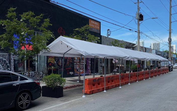Wynwood's Businesss Improvement District has worked with its member restaurants to turn parking spaces into outside seating, the only kind of dine-in restaurant service that Miami-Dade County will allow starting July 9 to slow the spread of the coronavirus.