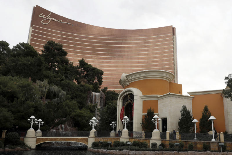 FILE - This Feb. 19, 2018, file photo shows the Wynn Las Vegas in Las Vegas. A former beauty salon director who went public about sexual misconduct allegations against casino mogul Steve Wynn is suing Wynn Resorts and executives, alleging they invaded his privacy and spied on him at his next job in a bid to undercut his accounts. (AP Photo/Isaac Brekken, File)