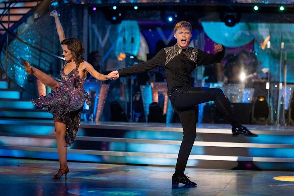 HRVY and Janette during last week's group routine (Photo: BBC/Guy Levy)