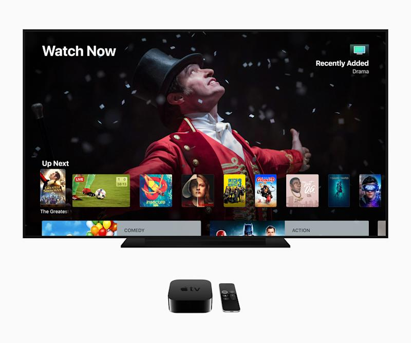 An Apple TV showing numerous programs available to watch