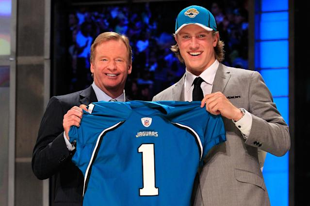 "The Jaguars traded up to draft <a class=""link rapid-noclick-resp"" href=""/nfl/players/24797/"" data-ylk=""slk:Blaine Gabbert"">Blaine Gabbert</a> in 2011. (Getty)"