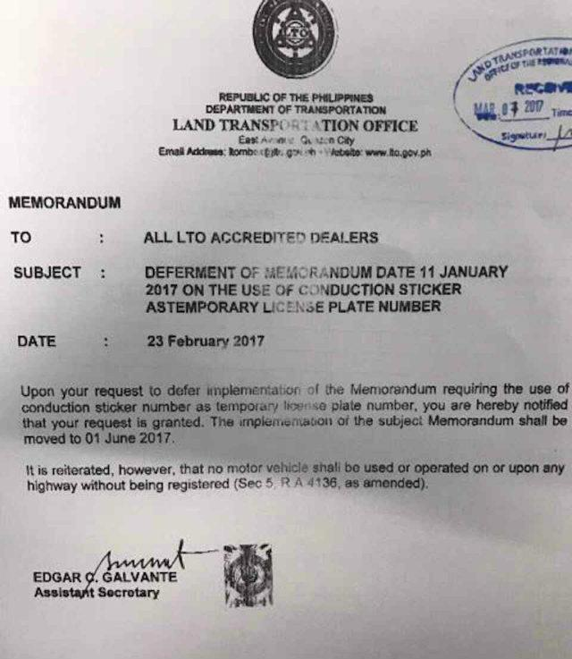 Standardized temporary plate memorandum