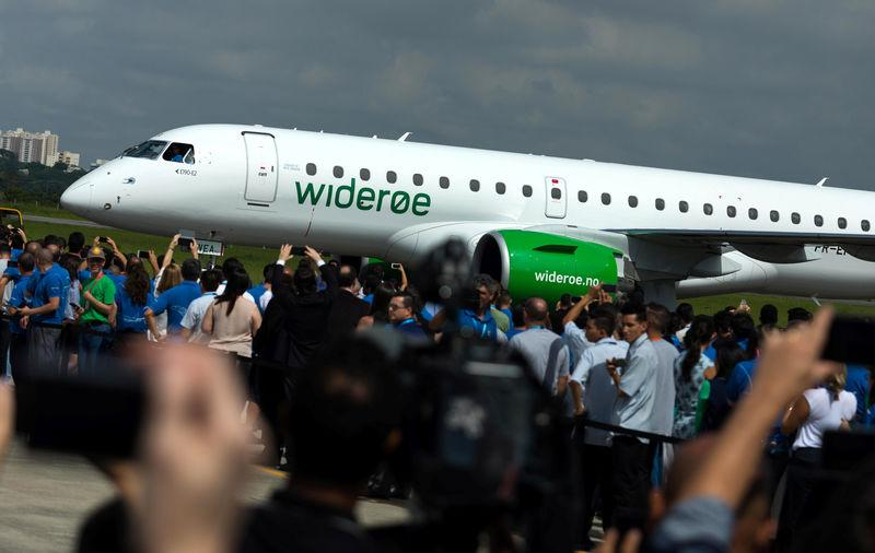 The E2-190 jet is seen during a ceremony as Embraer delivers first jet to Norway's Wideroe at the company's headquarters in Sao Jose dos Campos