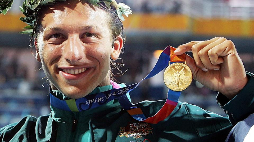 Ian Thorpe, pictured here after winning gold in the men's 400m freestyle at the Athens Olympics in 2004.