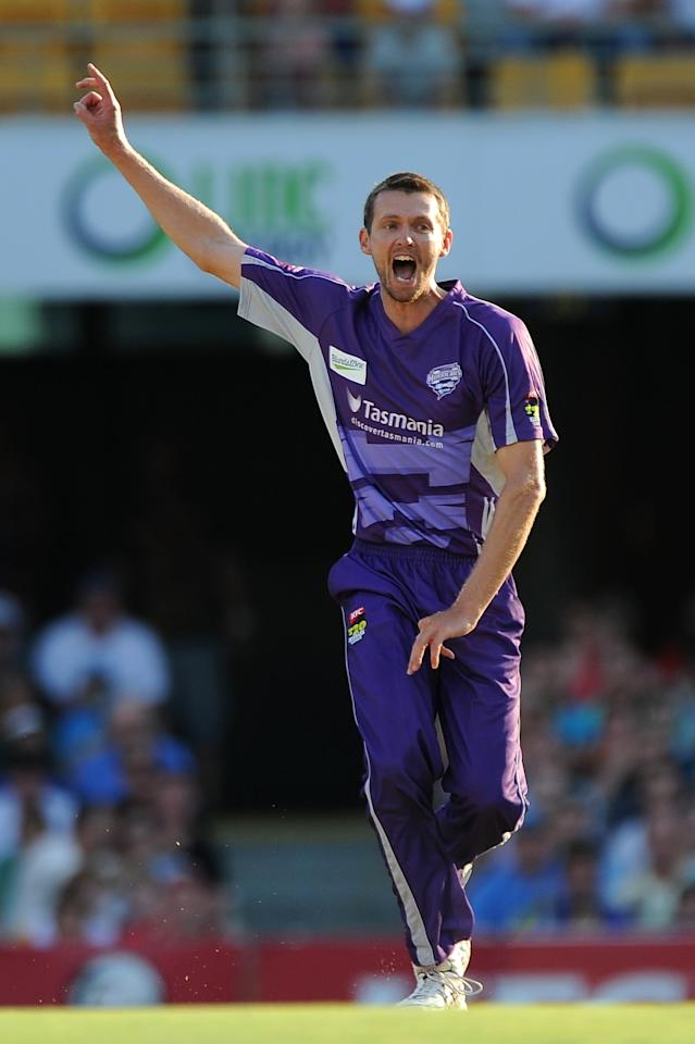 BRISBANE, AUSTRALIA - DECEMBER 09:  Michael Hogan of the Hurricanes unsucessfully appeals during the Big Bash League match between the Brisbane Heat and the Hobart Hurricanes at The Gabba on December 9, 2012 in Brisbane, Australia.  (Photo by Matt Roberts/Getty Images)