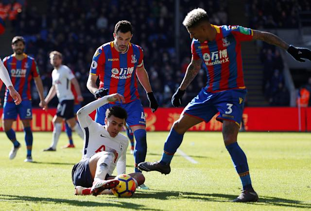 "Soccer Football - Premier League - Crystal Palace vs Tottenham Hotspur - Selhurst Park, London, Britain - February 25, 2018 Tottenham's Dele Alli is challenged by Crystal Palace's Patrick van Aanholt Action Images via Reuters/Paul Childs EDITORIAL USE ONLY. No use with unauthorized audio, video, data, fixture lists, club/league logos or ""live"" services. Online in-match use limited to 75 images, no video emulation. No use in betting, games or single club/league/player publications. Please contact your account representative for further details."