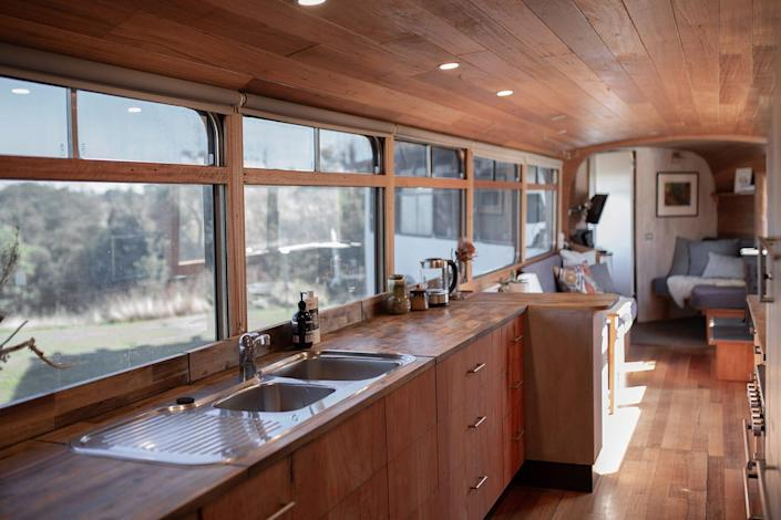 The kitchen view in The Bus Hideaway, a bendy bus rented out on Airbnb.