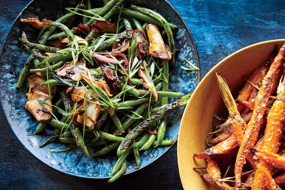 "In Hong Kong, where XO sauce was invented, dried shrimp or scallops and Chinese ham are combined with chiles to create a powerhouse condiment. This recipe retains the shrimp (or you can use a splash of fish sauce) but swaps the meat out for meaty king trumpet or maitake <a href=""https://www.epicurious.com/ingredients/how-to-buy-and-store-different-types-of-mushrooms-recipes-article?mbid=synd_yahoo_rss"" rel=""nofollow noopener"" target=""_blank"" data-ylk=""slk:mushrooms"" class=""link rapid-noclick-resp"">mushrooms</a>. <a href=""https://www.epicurious.com/recipes/food/views/green-beans-with-mushroom-xo-sauce?mbid=synd_yahoo_rss"" rel=""nofollow noopener"" target=""_blank"" data-ylk=""slk:See recipe."" class=""link rapid-noclick-resp"">See recipe.</a>"