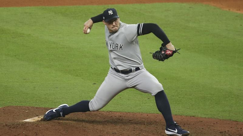 Tommy Kahnle pitches for Yankees