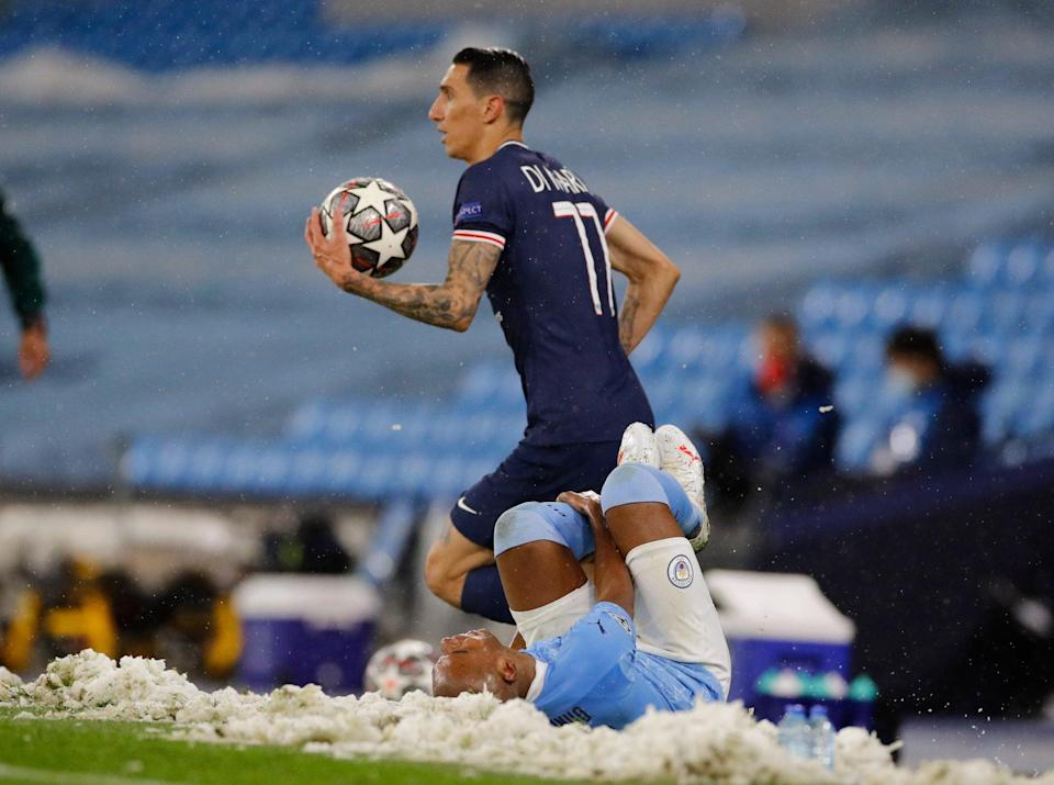 Paris St Germain's Angel Di Maria after clashing with Manchester City's Fernandinho - REUTERS/Phil Noble