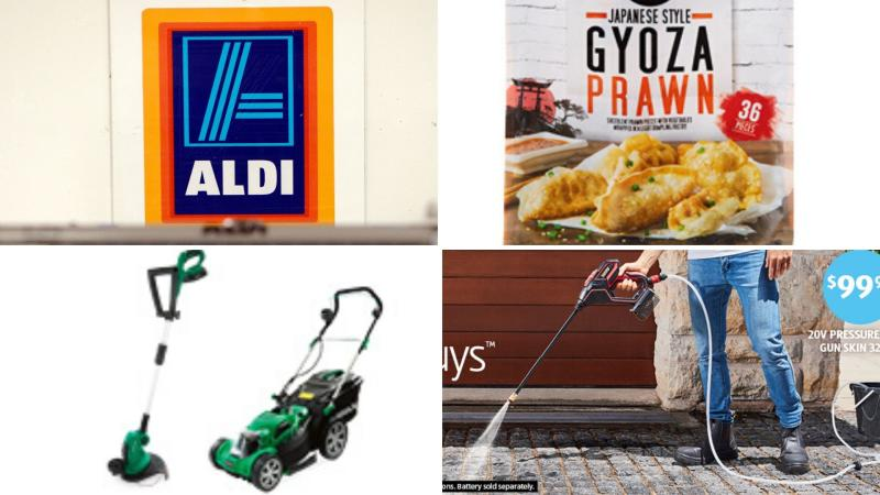 Gardening appliances and prawn dumplings on sale at Aldi this week.