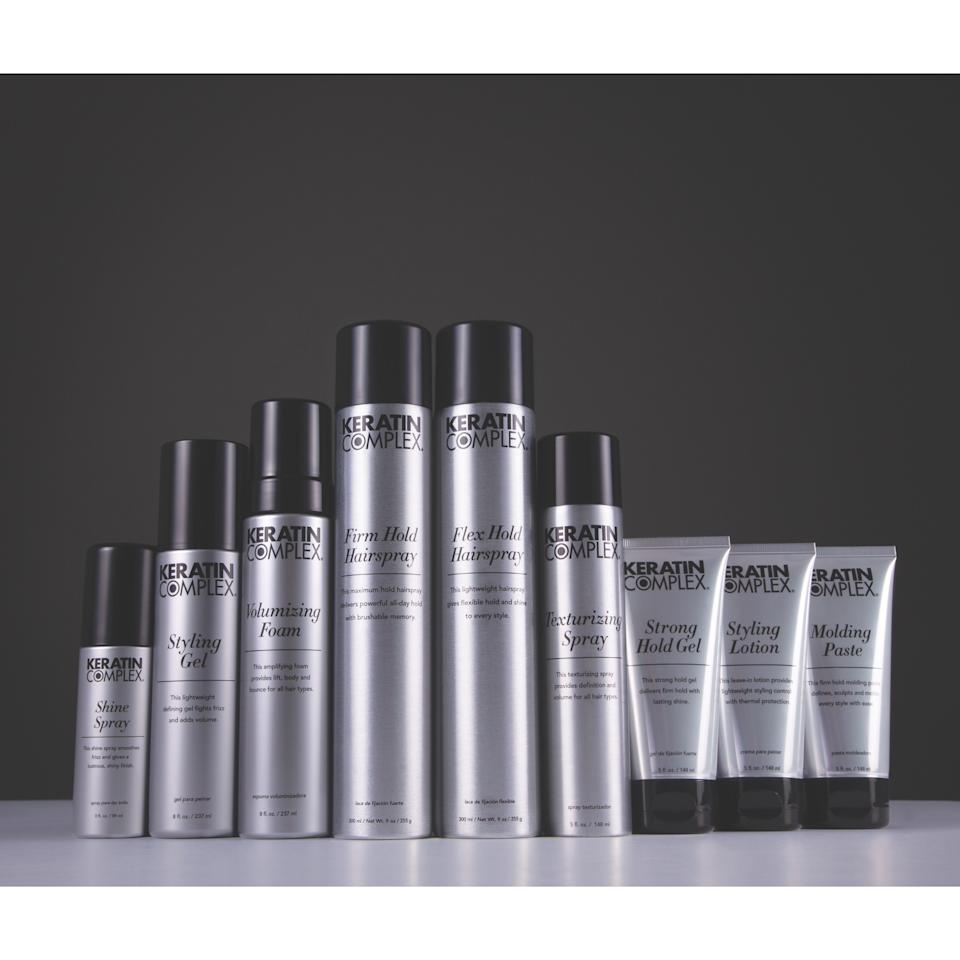 <p>Keratin Complex is releasing a brand-new collection of styling products inspired by the pros. This nine-piece range expands its selection of stylers, which you can use in conjunction with the rest of the Keratin Complex options. On tap are two hair sprays (one with a firm hold and one with a more flexible feel), a volumizing foam, texturizing spray, two styling gels (one lightweight and the other with a stronger hold), a styling lotion, molding paste, and shine spray.</p> <p>$24-$26 (Available in late August)</p>