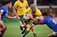 Australia's David Pocock made his return from injury in the victory over Samoa earlier this month (AFP Photo/Peter PARKS)