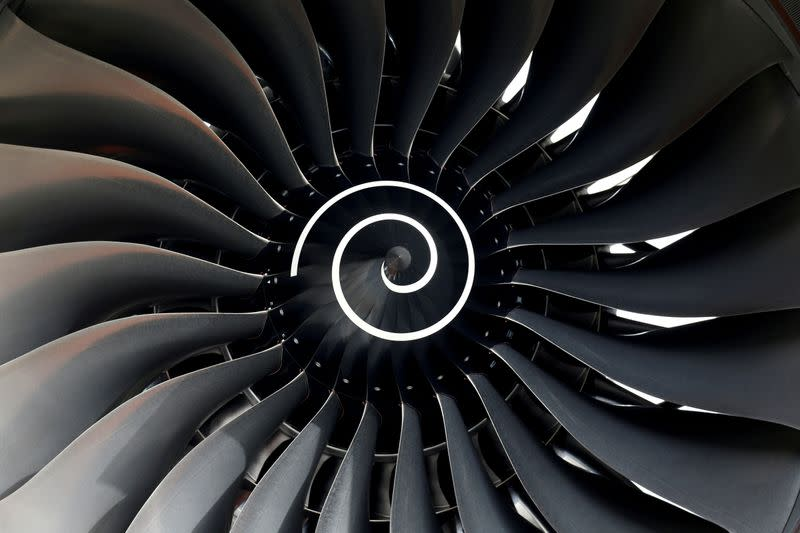 FILE PHOTO: Rolls Royce engine of the first Fiji Airways A350 XWB airliner is seen at the aircraft builder's headquarters of Airbus in Colomiers near Toulouse