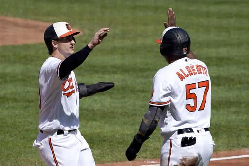 Baltimore Orioles' Austin Hays, left, and Hanser Alberto react after they both scored on a single by Renato Nunez off Tampa Bay Rays starting pitcher Ryan Yarbroug during the first inning of a baseball game, Sunday, Sept. 20, 2020, in Baltimore. (AP Photo/Julio Cortez)