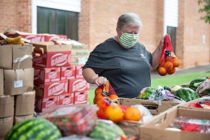 fresh produce in donation boxes