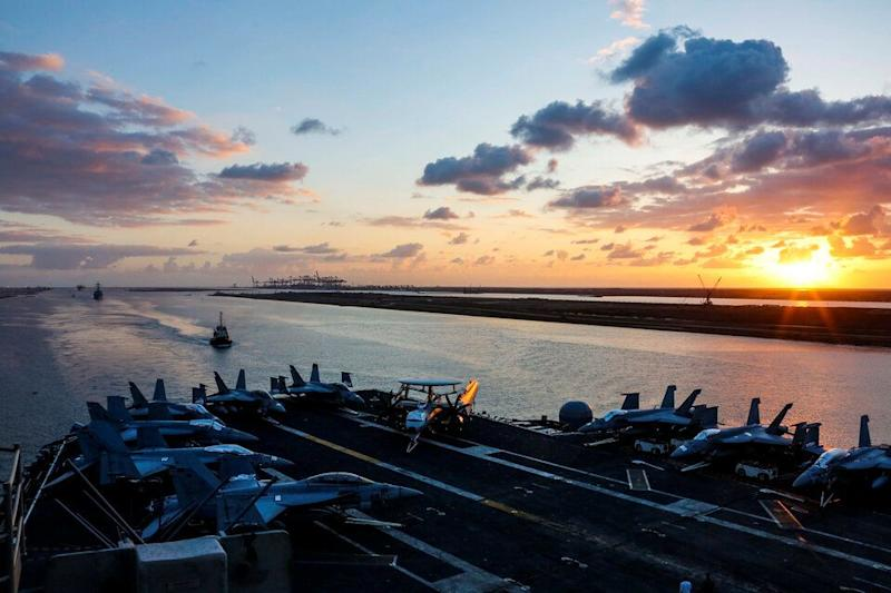 The USS Abraham Lincoln transits the Suez Canal in Egypt earlier this month.