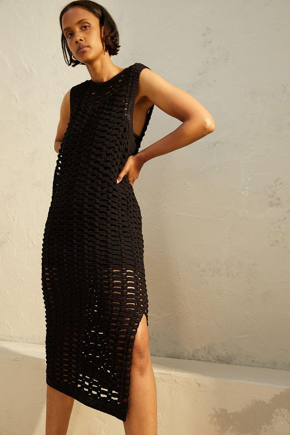 <p>Slip this <span>Crocheted Dress</span> ($63, originally $70) over your bathing suit, and you're all set for a polished beach day. From the slit to the see-through crochet style, everything about this dress is flattering.</p>