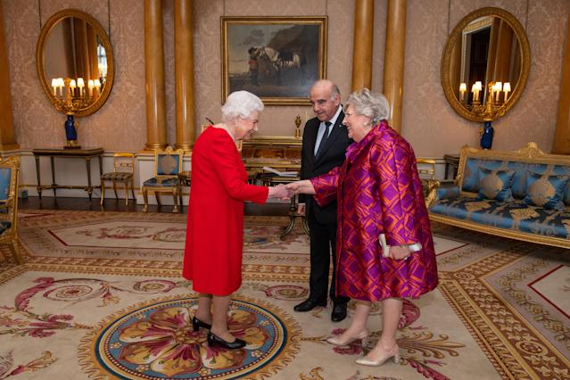 Queen Elizabeth II meets President of Malta George Vella and his wife Miriam Vella during an audience at Buckingham Palace, London. (Press Association)