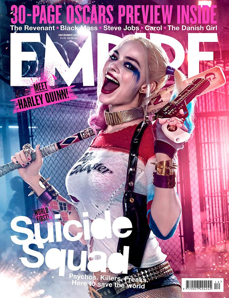 <p>The new 'Empire' magazine cover featuring Margot Robbie as the bat-wielding Harley Quinn. (Empire)</p>
