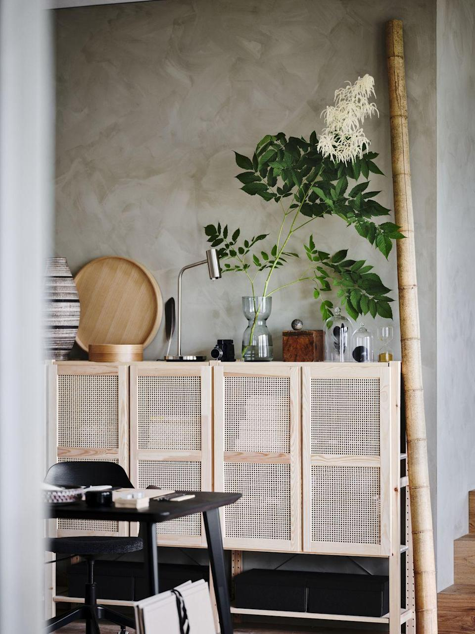"""<p>Taking inspiration from <a href=""""https://www.housebeautiful.com/uk/decorate/g35007654/pinterest-2021-home-decortrends/"""" rel=""""nofollow noopener"""" target=""""_blank"""" data-ylk=""""slk:Japandi"""" class=""""link rapid-noclick-resp"""">Japandi</a> — a Japanese and Scandinavian hybrid — the Home Sanctuary range taps into the higher demand for harmony and wellbeing at home. Whether you're keeping a lookout for gorgeous storage units or mood-boosting <a href=""""https://www.housebeautiful.com/uk/decorate/living-room/g32357518/living-room-accessories/"""" rel=""""nofollow noopener"""" target=""""_blank"""" data-ylk=""""slk:accessories"""" class=""""link rapid-noclick-resp"""">accessories</a>, IKEA offers plenty of solutions for making the most of each room in your house. </p>"""