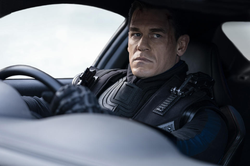 """This image released by Universal Pictures shows John Cena in a scene from """"F9: The Fast Saga."""" (Giles Keyte/Universal Pictures via AP)"""
