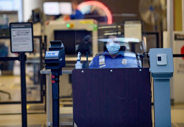 PHOTO: A TSA worker waits for travellers at the Pittsburgh International Airport, May 7, 2020, in Pittsburgh, Pa. (Jeff Swensen/Getty Images, FILE)